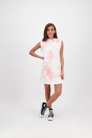 tie-dye T-shirtjurk HAZITA wit/roze