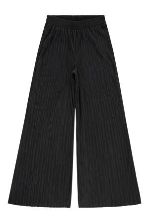 high waist wide leg palazzo broek SAMIZE met krijtstreep zwart