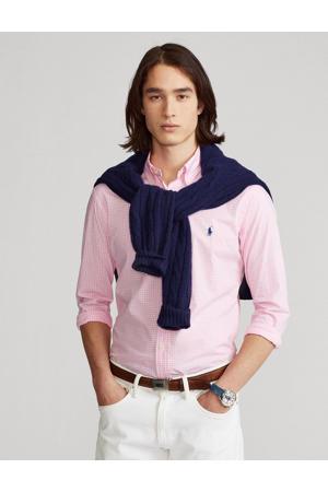 +size geruit regular fit overhemd Plus Size lichtroze