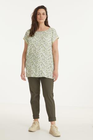 gebloemd T-shirt Jazzy met contrastbies groen/multi