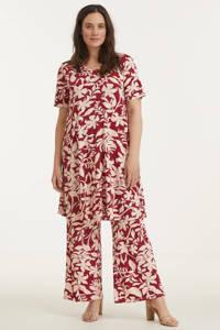 Yesta gebloemde T-shirtjurk Ankie Essential rood/roze, Rood/roze