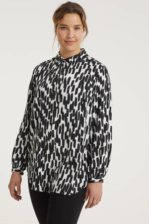 blouse Jaira met all over print en plooien zwart/wit