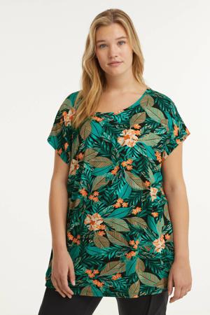 top Lieselot met bladprint groen/zwart/oranje