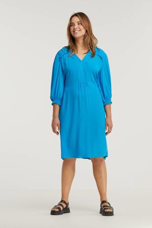 jurk Levainy met ruches blauw