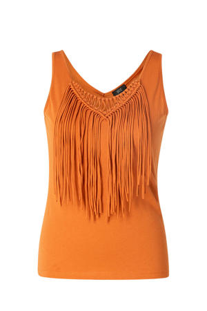 top Lennox met franjes oranje