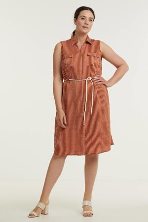 jurk Leanne met krijtstreep brique/ecru