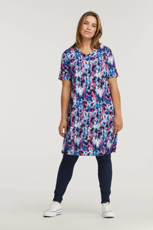 tuniekjurk met all over print blauw/roze/wit