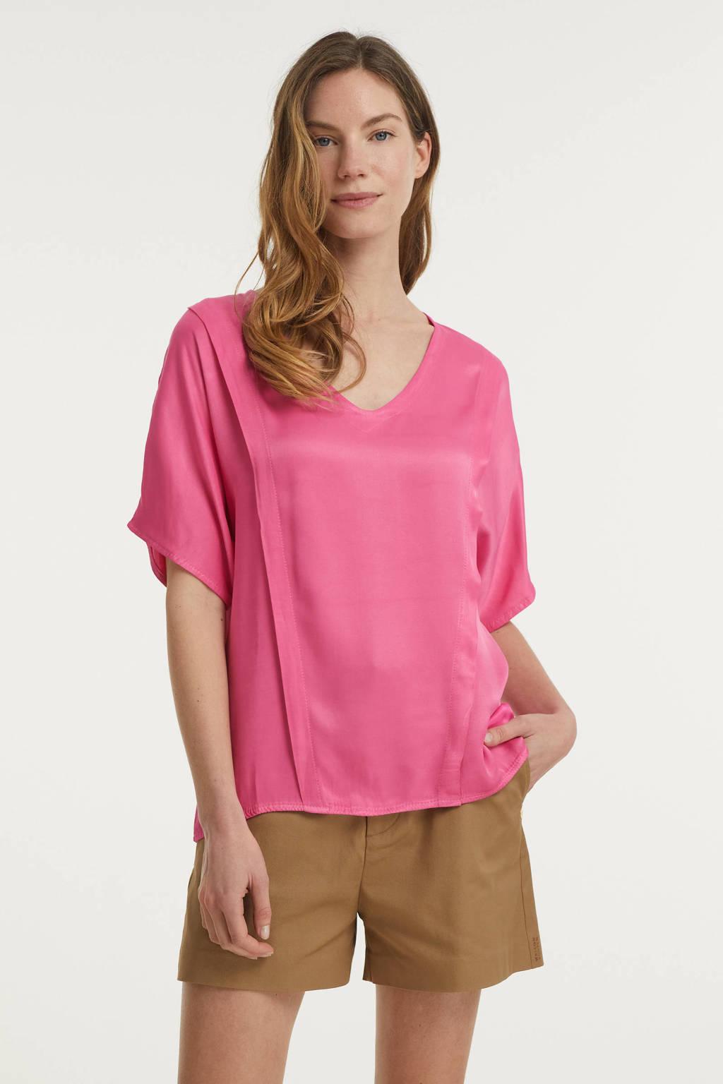 Transfer top met plooien roze, Roze