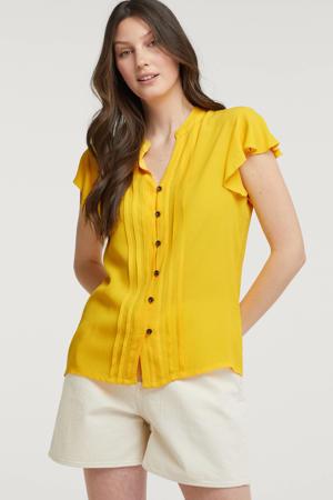 blouse met ruches geel