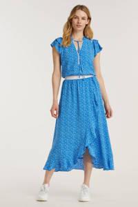 Esqualo top met all over print en ruches blauw, Blauw