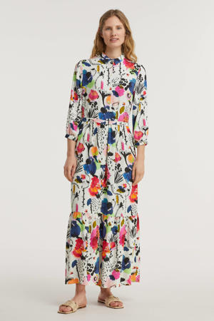 maxi jurk Delicious Mess Ecru met all over print ecru