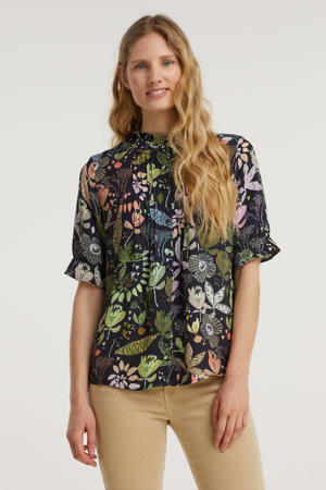 blouse BLOUSE - Jungle Belastaants Rainbow - 36 met all over print zwart