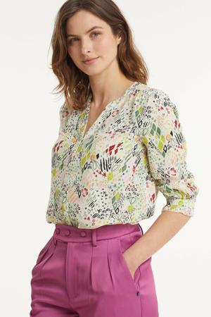 blouse Nature's Hug Multi met all over print en ruches multi