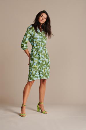 jurk Cheetah Leaves met all over print en ceintuur blauw