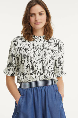 blouse BLOUSE - Very Berry Black & White met all over print ecru
