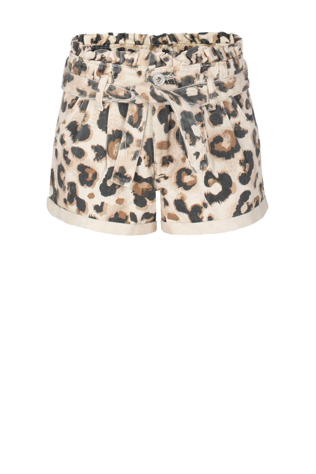 Jill & Mitch by Shoeby high waist mom fit short Leopard bruin/beige/zwart, Bruin/beige/zwart