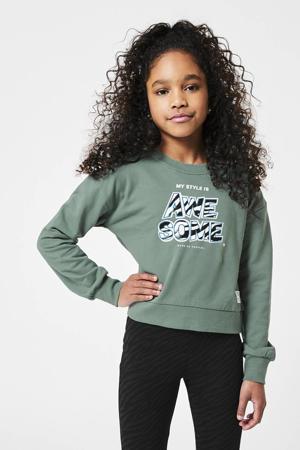 sweater Sanja met tekst lichtgroen/roze