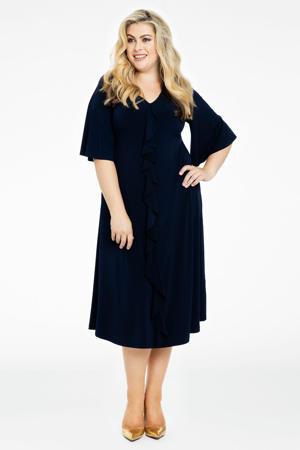 jurk met volant donkerblauw