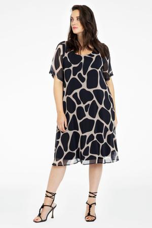 semi-transparante jurk met dierenprint zwart/lichtbruin