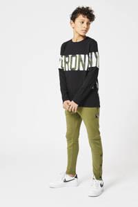 CoolCat Junior joggingbroek Charly met tekst army groen, Army groen