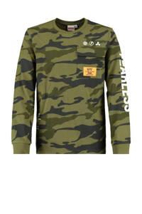 CoolCat Junior longsleeve Leagon met camouflageprint army groen, Army groen