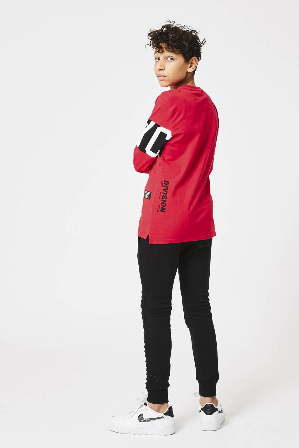 CoolCat Junior longsleeve Lesky met tekst rood/wit/zwart, Rood/wit/zwart