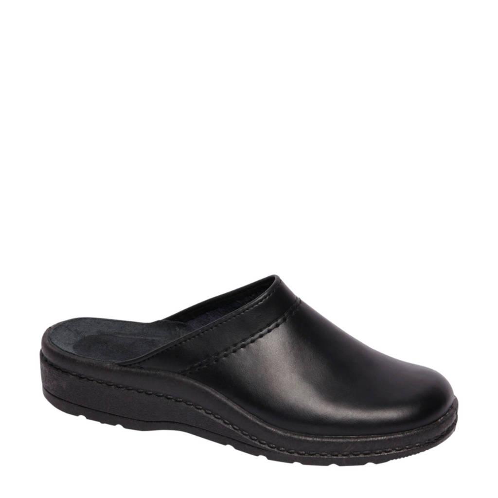 Casa mia leren pantoffels zwart, Zwart