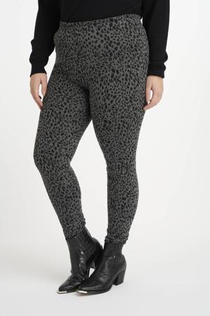 legging met dierenprint grijs/zwart