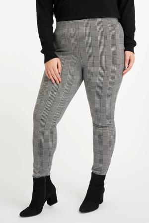 high waist legging met pied-de-poule zwart/wit
