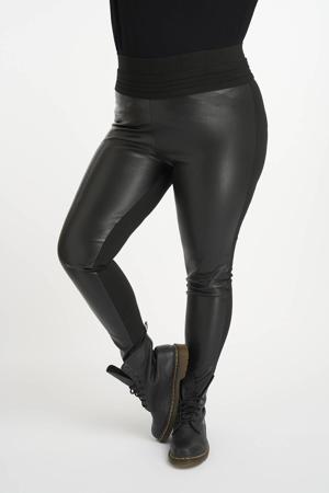 imitatieleren high waist skinny tregging zwart