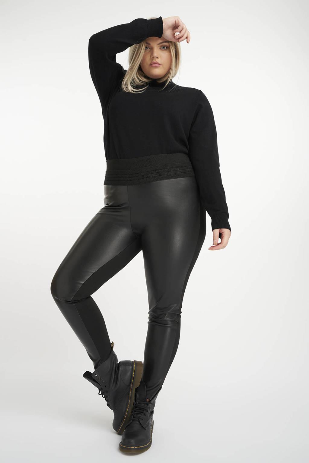 MS Mode imitatieleren high waist skinny tregging zwart, Zwart