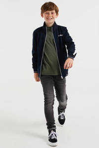 WE Fashion vest met tekst donkerblauw, Donkerblauw