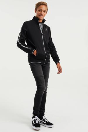 vest met contrastbies zwart