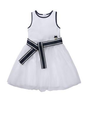 halter jurk met mesh wit/blauw