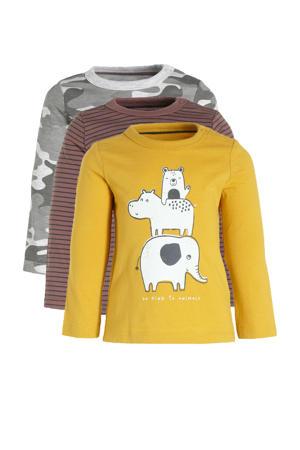 baby longsleeve - set van 3 met all over print geel/bruin/grijs