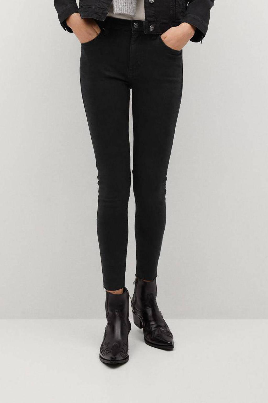 Mango cropped skinny jeans Isa black, Black