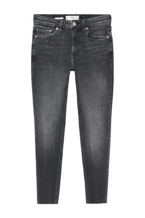 cropped skinny jeans met slijtage donkergrijs