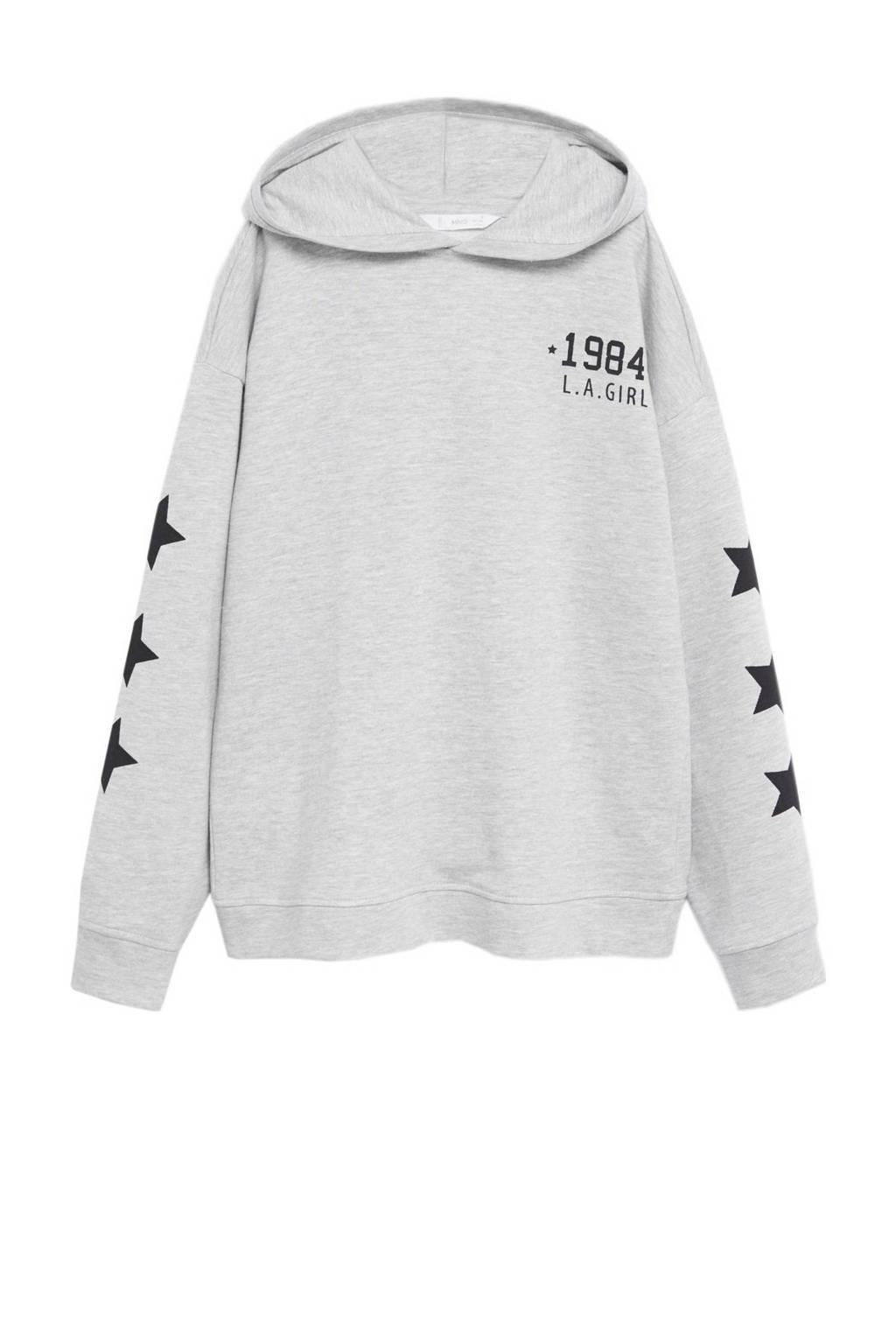 Mango Kids hoodie met printopdruk lichtgrijs/zwart, Lichtgrijs/zwart