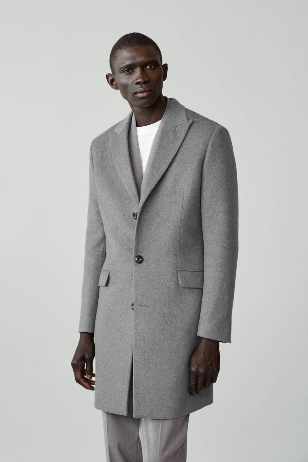 Mango Man  jas met wol grijs, Grijs