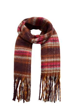 gestreepte sjaal met franjes donkerrood
