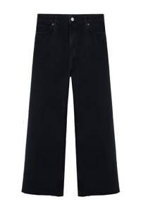 Mango cropped high waist loose fit jeans black, Black