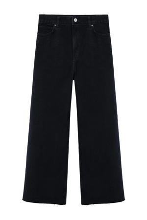 cropped high waist loose fit jeans black