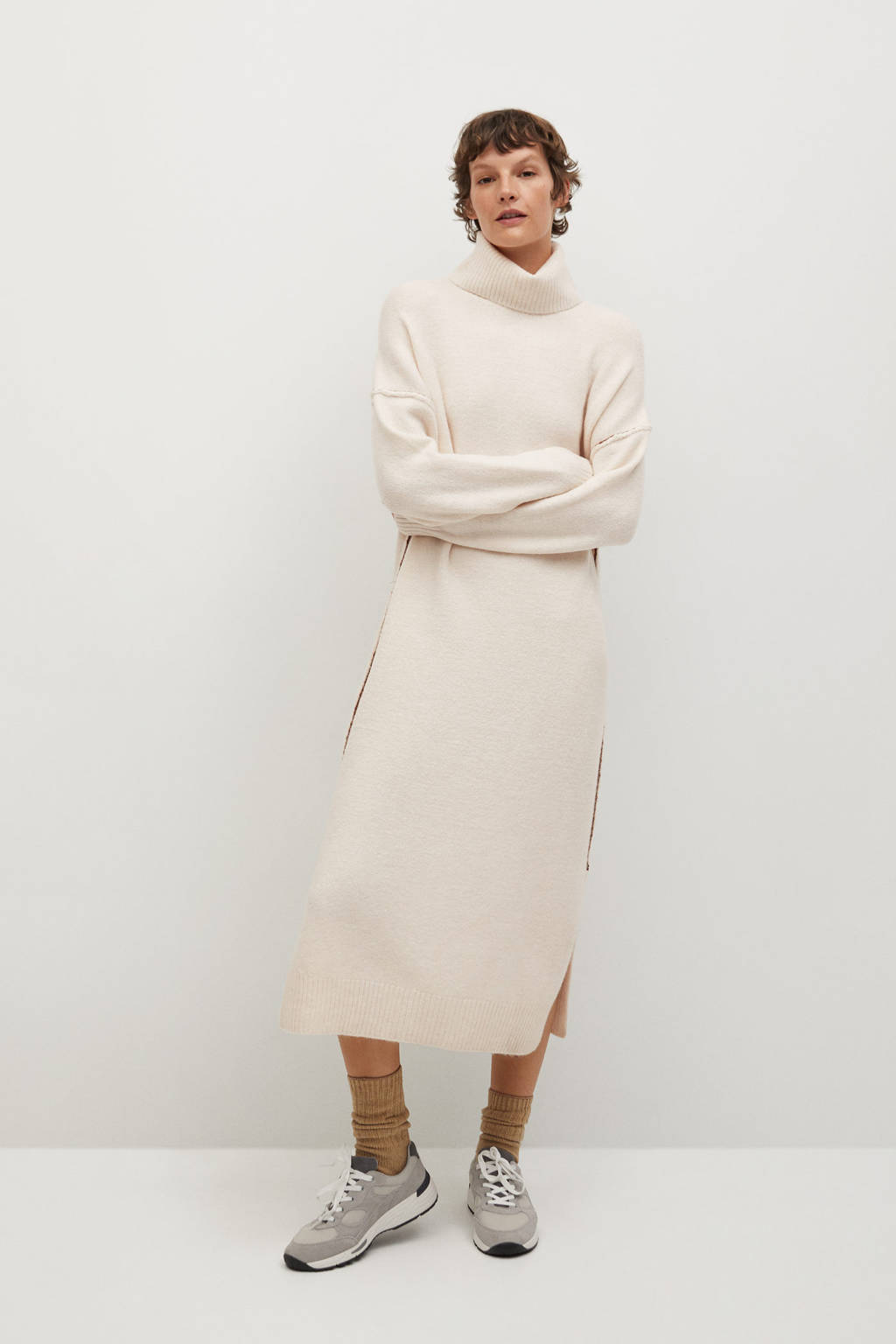 Mango jurk met wol lichtbeige, Lichtbeige