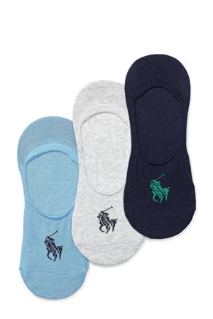 no-show sneakersokken Big Pony - set van 3 donkerblauw/blauw