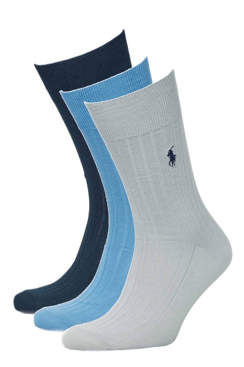 Ralph Lauren sokken - set van 3 blauw/donkerblauw, Blauw/donkerblauw