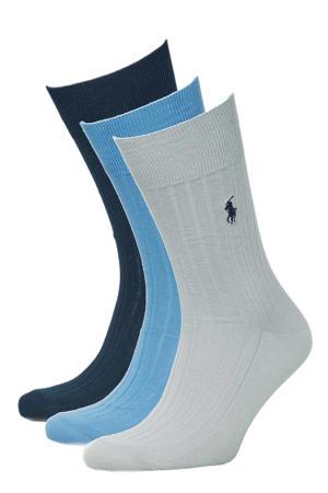 sokken - set van 3 blauw/donkerblauw