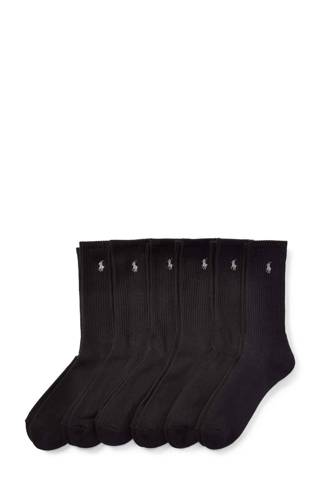 Ralph Lauren sokken Crew - set van 6 zwart, Zwart