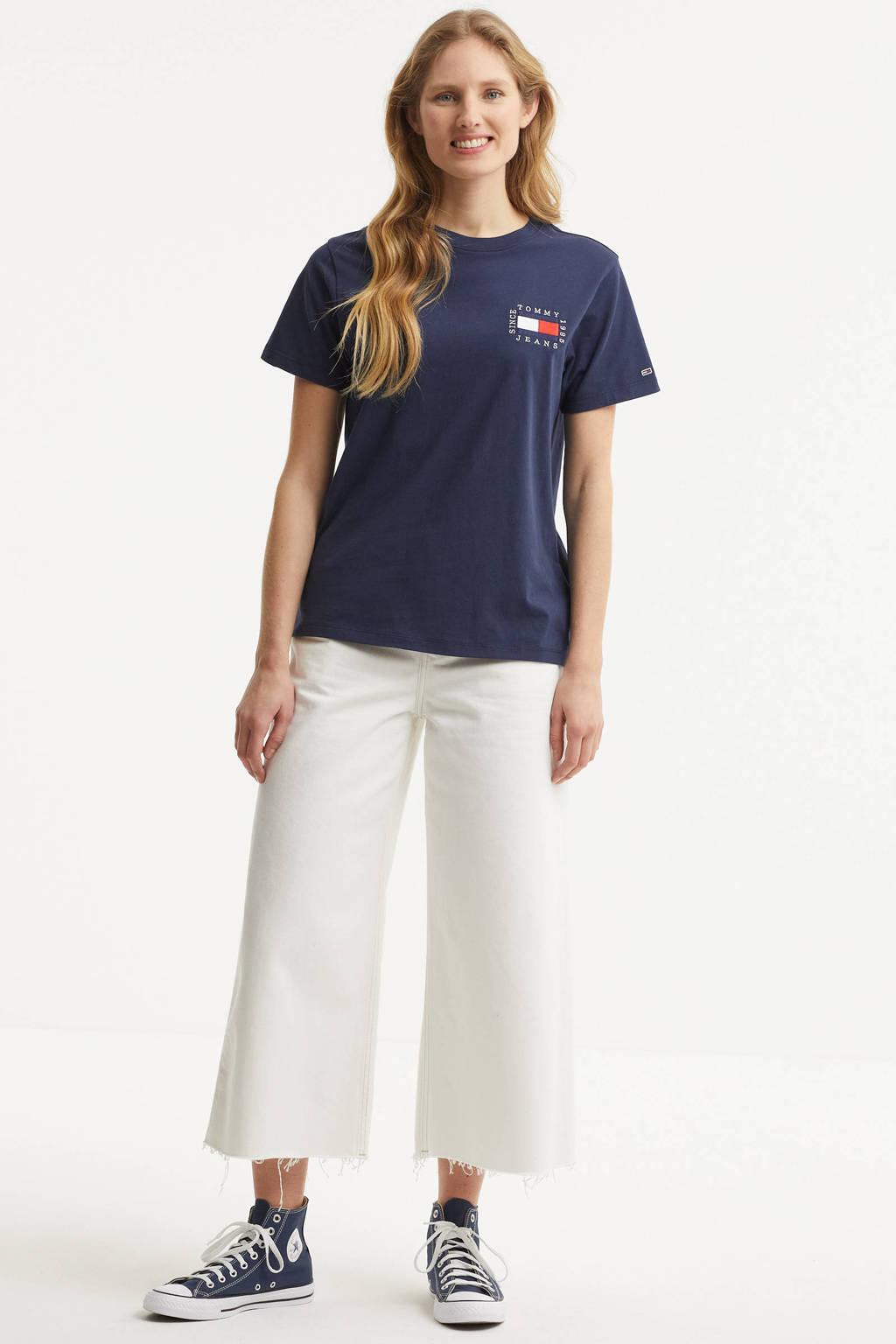 Tommy Jeans T-shirt van biologisch katoen blauw, Blauw