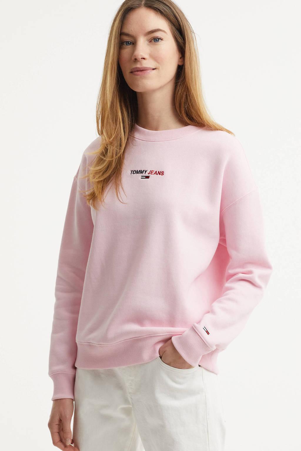 Tommy Jeans sweater met logo roze, Roze