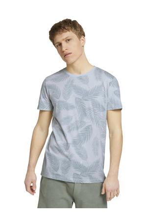 T-shirt met bladprint lichtblauw